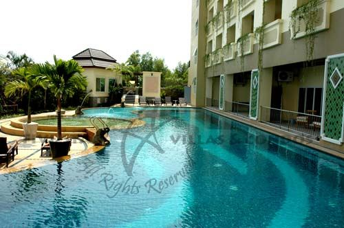 Condominium for rent in Jomtien showing the pool and gymnasium