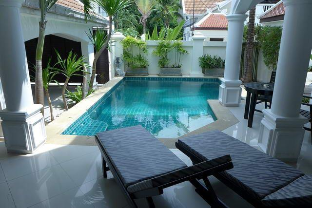 House for sale Na Jomtien showing the  the terraces and swimming pool