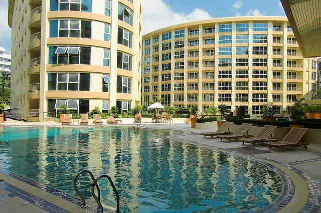 Condominium for sale Pattaya showing the communal pool and buildings