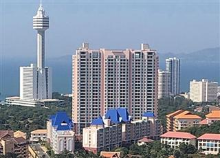 Condominium for sale Pattaya showing the city and sea views