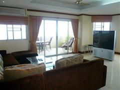 Condominium for sale in Na Jomtien showing the sitting area and TV