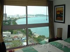 Condominium for sale in Pattaya at Northshore showing the bedroom with a view of the Bay
