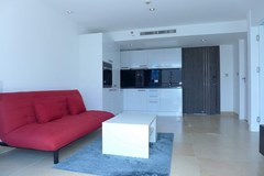 Condominium for rent Pattaya showing the living and kitchen