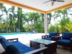 House for rent Pattaya at Siam Royal View showing the covered terrace and pool