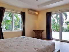 House for rent Pattaya at Siam Royal View showing the master bedroom pool view