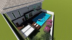 House for sale East Pattaya showing the pool and decking concept