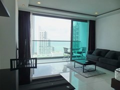 Condominium for rent Wong Amat Tower showing the living, dining and balcony