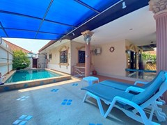 House for rent Pattaya showing the covered terrace, carport and pool