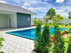 House for sale East Pattaya showing the covered terrace and pool