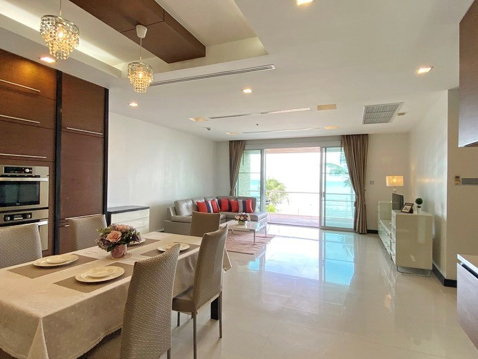 Condominium for rent Naklua Ananya showing the dining, living areas and balcony