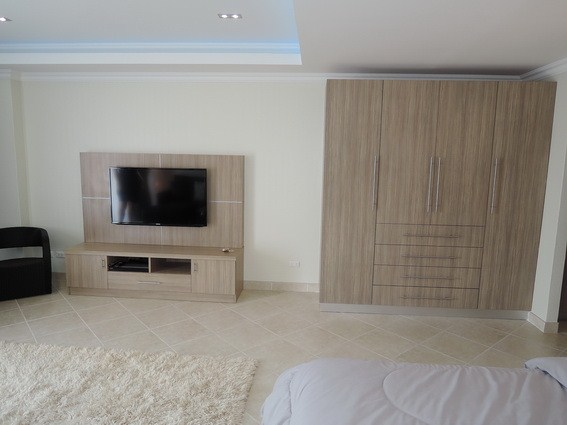 Condominium for rent Pratumnak Pattaya showing the media wall and wardrobes