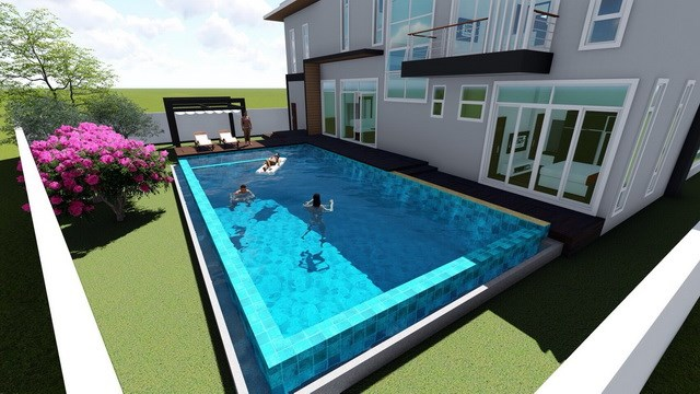 House for sale East Pattaya showing the private swimming pool concept