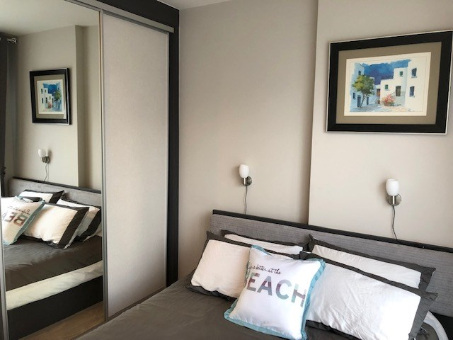 Condominium for rent Central Pattaya showing the bedroom with built-in wardrobes
