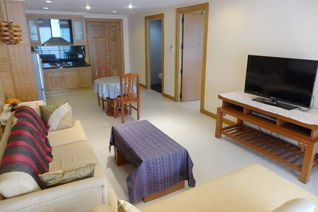 Condominium for rent in Pattaya showing the living, dining and kitchen areas