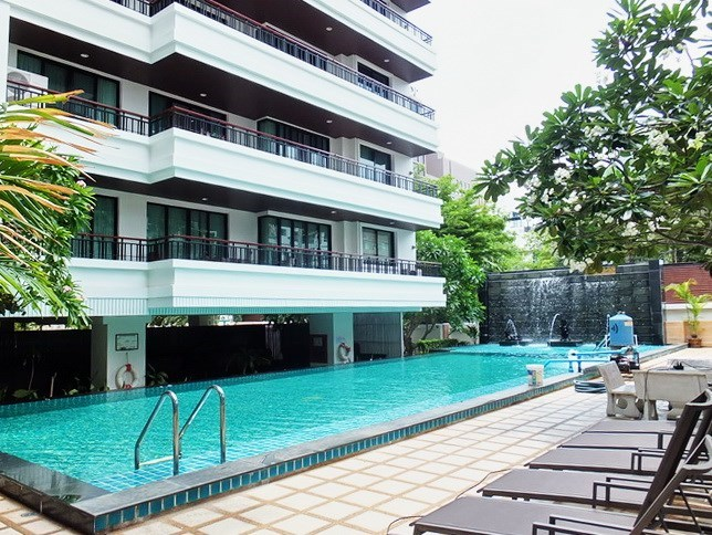 Condominium for sale Central Pattaya showing the pool, terrace and condo building