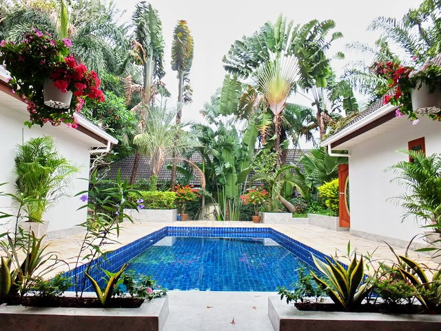 House for rent Pattaya showing the pool and garden